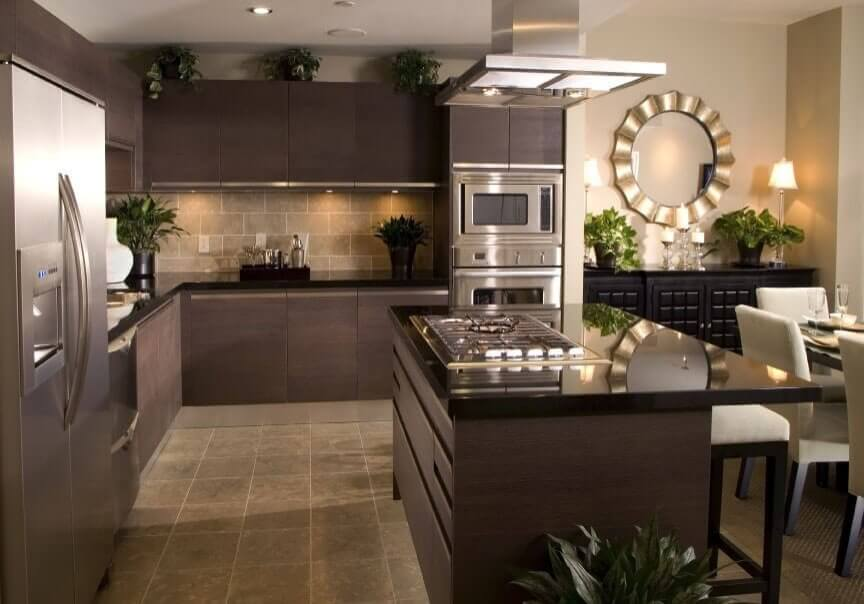 Custom kitchen cabinets, granite counters, glass backsplash, modern design and contemporary feel